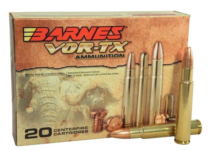 Barnes Vor-TX Safari ammo in .416 Rigby on a white background.