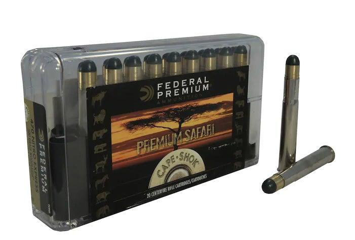 Federal Premium Cape-Shok ammo in .470 Nitro Express box on a white background.