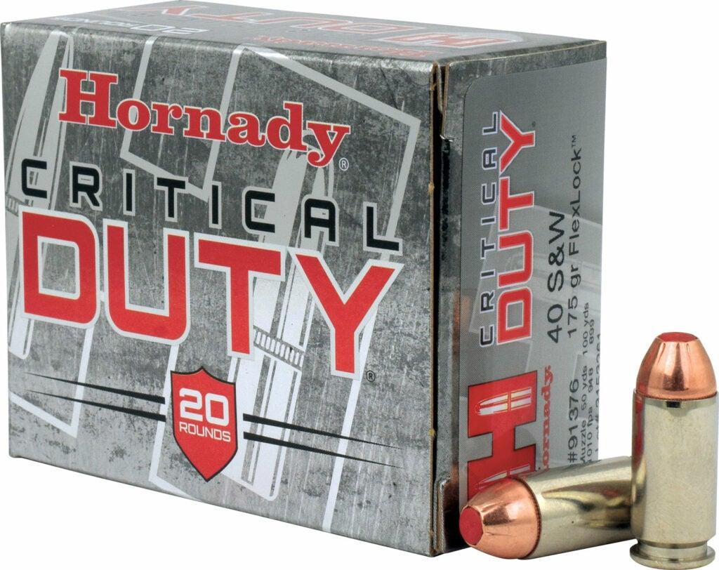 A silver box of heavy duty ammo.