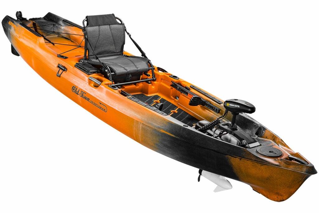 An orange and black fishing canoe.