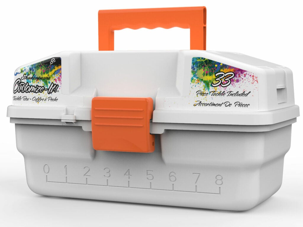 A shakespeare customize it tackle box on a white background.