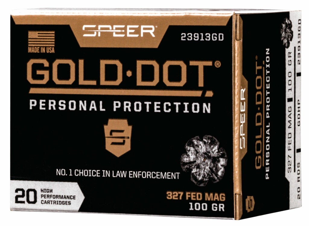 A box of Gold Dot personal protection ammo.