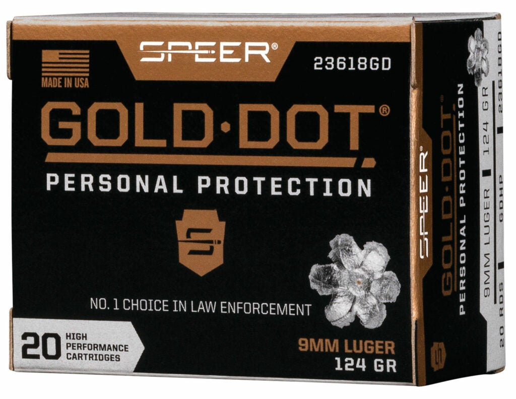 A box of speer gold dot personal protection ammunition