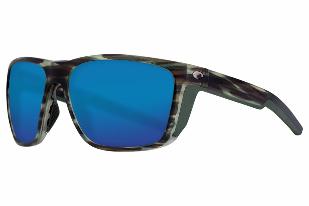 A pair of Costa sunglasses with blue lenses.