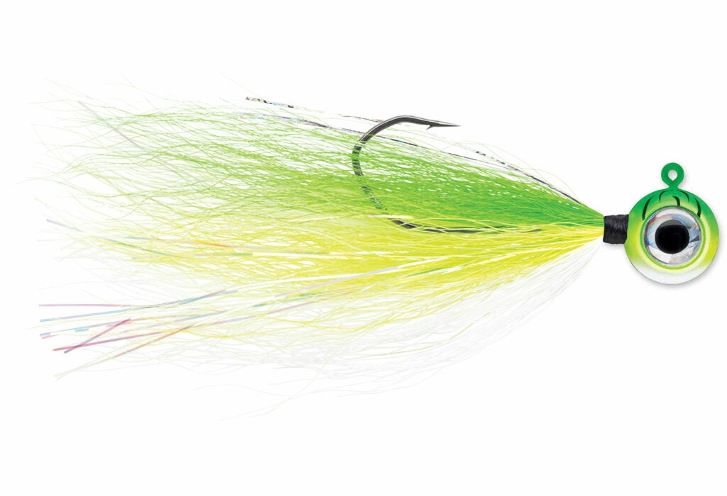 a yellow and green fly fishing lure.
