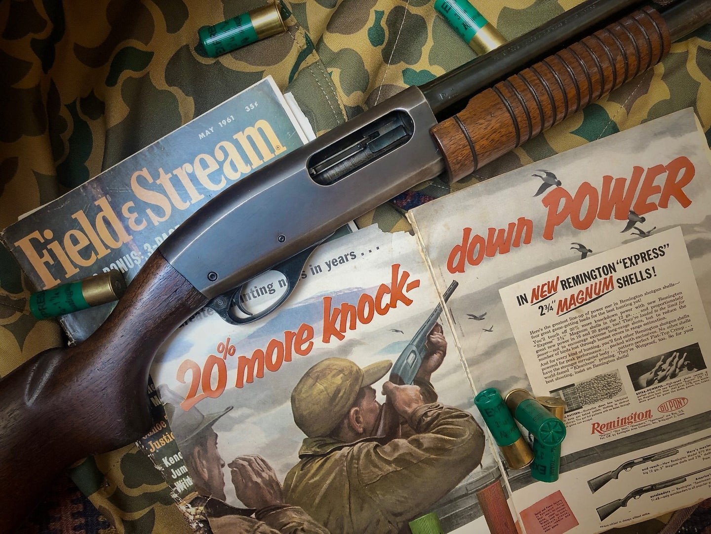 Shotgun with vintage Field & Stream magazines.