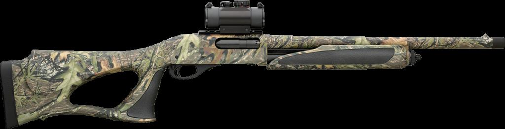 Turkey-hunting shotgun with red dot sight.