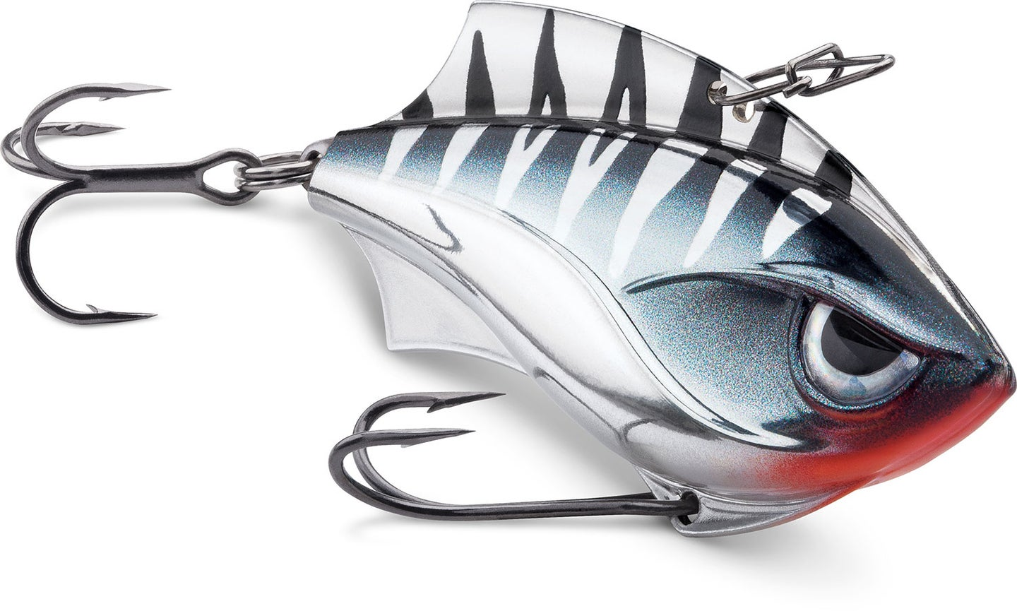 A black and silver fishing lure.