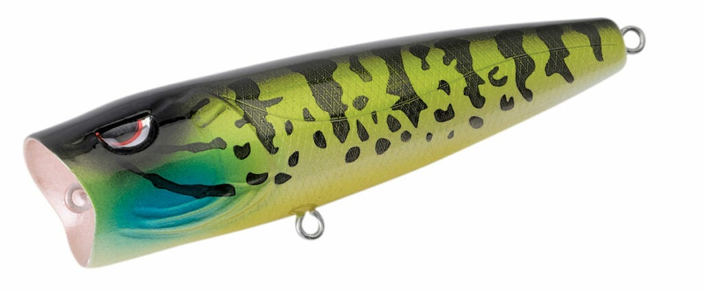 a striped black and green lure.