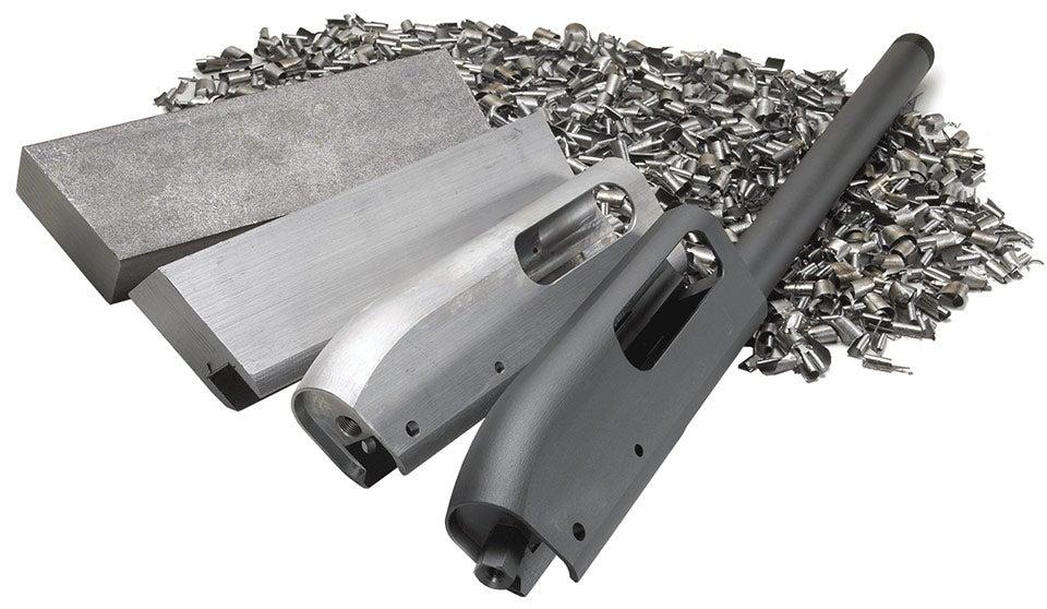 Shotgun receiver machined from steel.