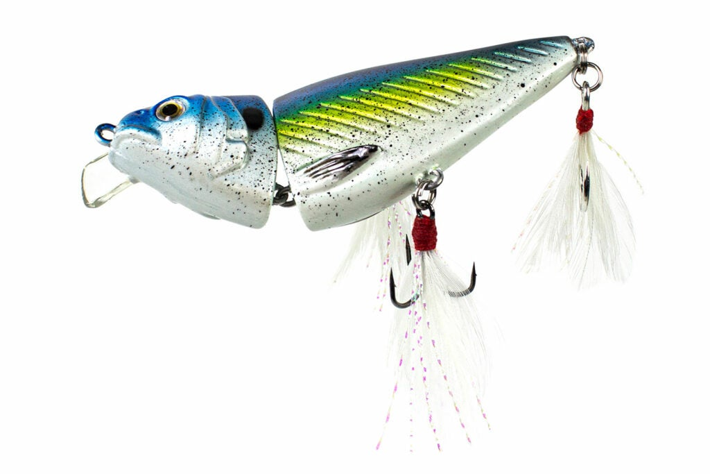 A silver, blue and green fishing lure.