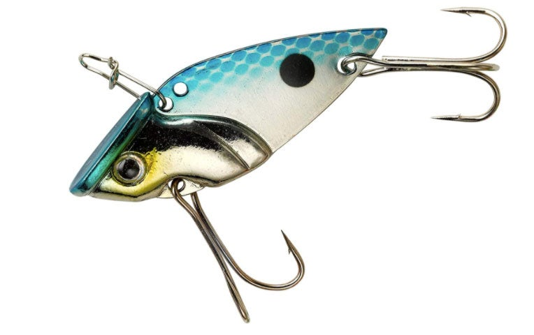A blue and silver fishing lure on a white background.