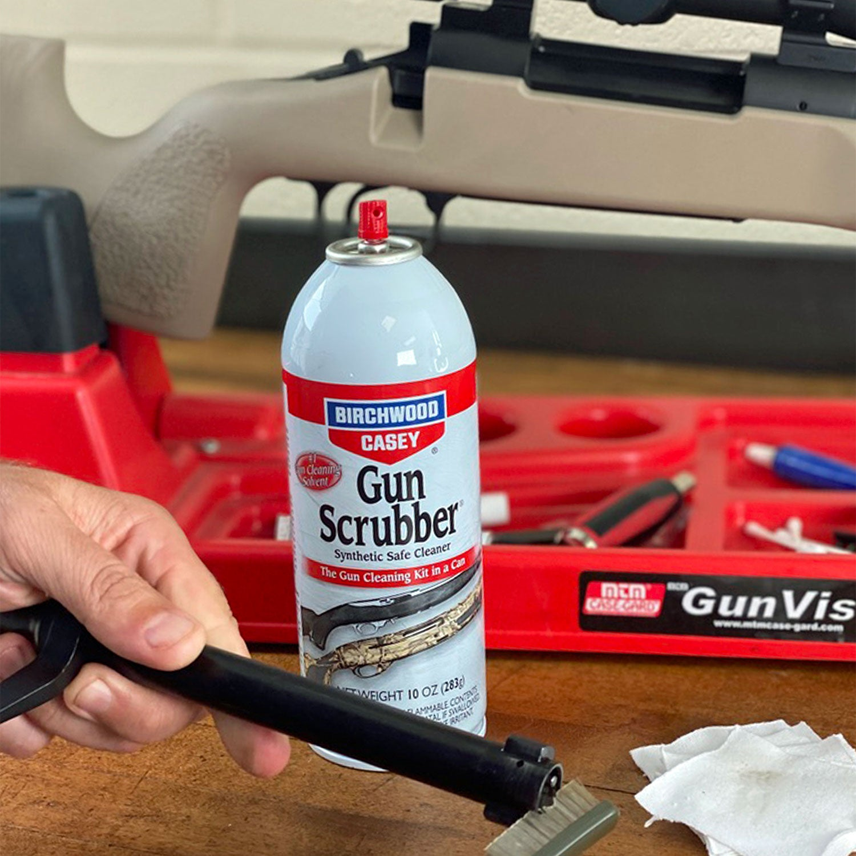 A can of Birchwood Casey gun scrubber