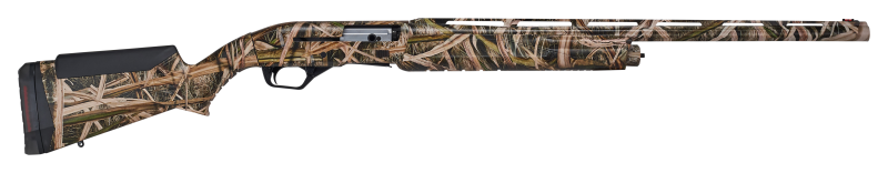A side profile of a camoflauge painted shotgun.
