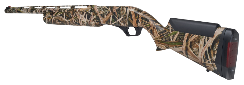 A rear profile of a camoflauge painted shotgun.