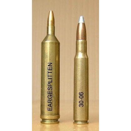 Two rifle cartridges on a orange background.