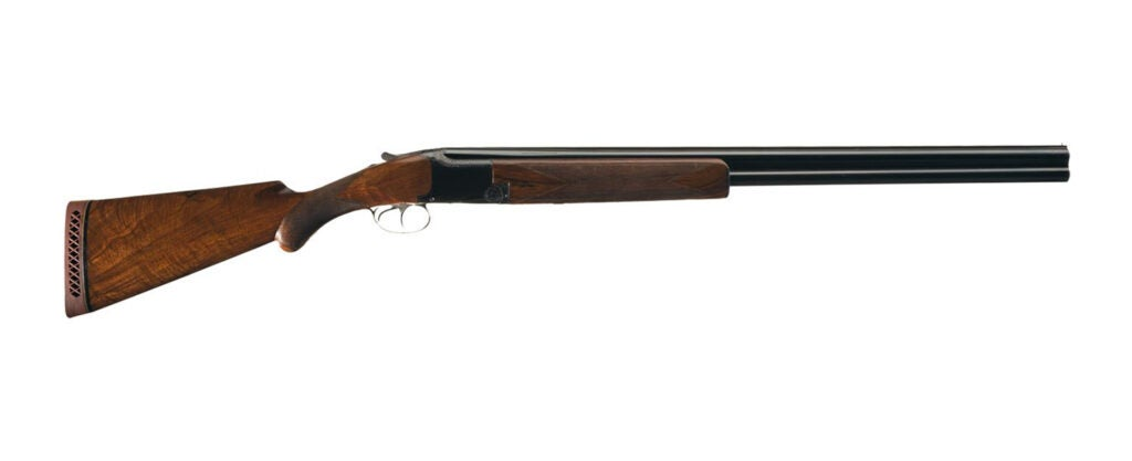 A Browning superposed shotgun on a white background.