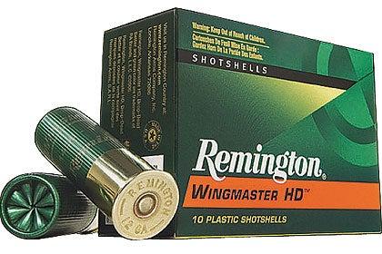 A green box of Remington shotgun ammo on a white background.