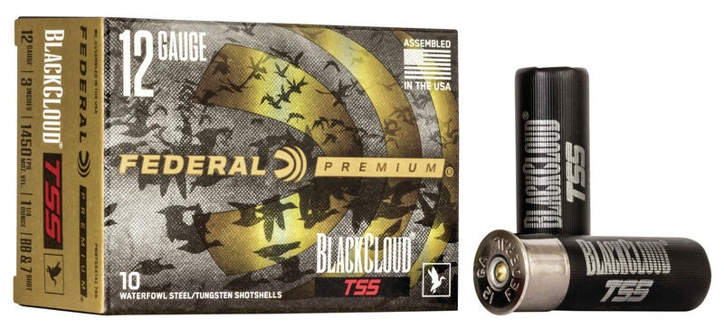 A box of federal black cloud tss ammo aon a white background.