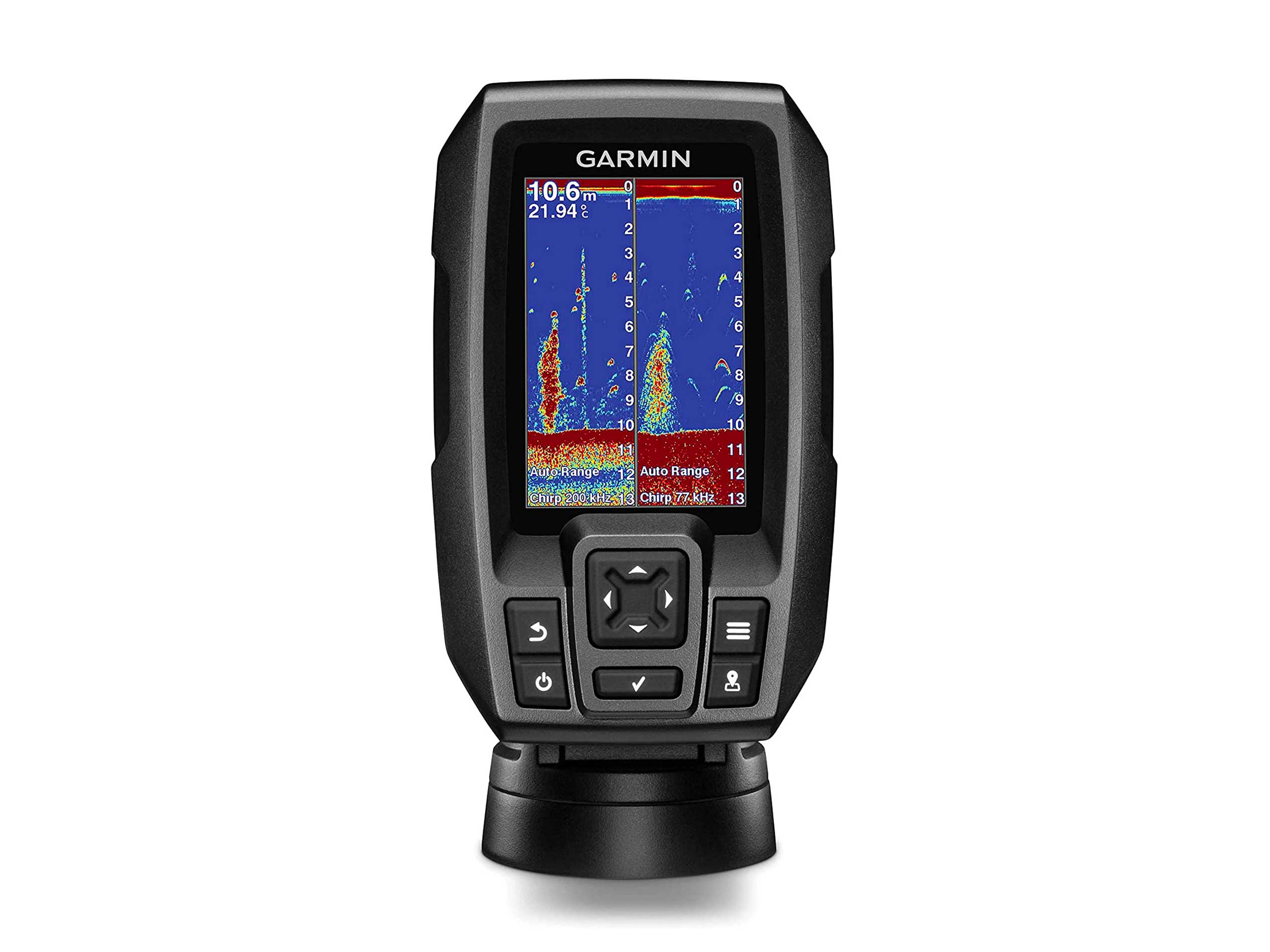 """Garmin Striker 4 with Transducer, 3.5"""" GPS Fishfinder with Chirp Traditional Transducer Bundle with Scotty #141 Kayak/SUP Transducer Mounting Arm with Gear-Head"""