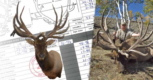 Side-by-side image of an elk antler mount and a hunter.