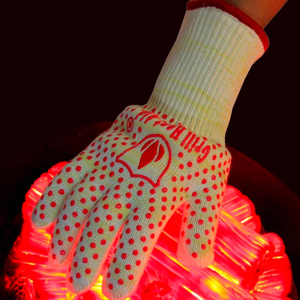 Revolutionary 932F Extreme Heat Resistant EN407 Certified Gloves - Thick but Light-Weight & Flexible. Hot Pink, Women Small Size