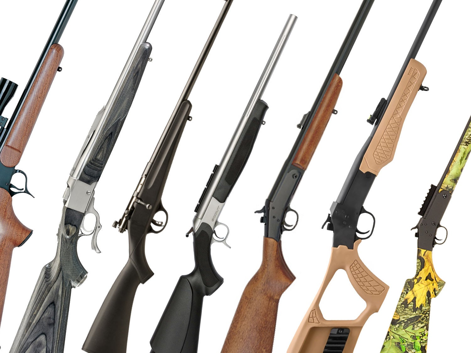 Collage of rifles and shotguns.