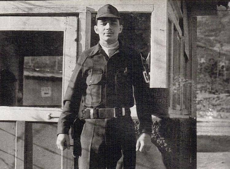 Black and white photo a military officer.