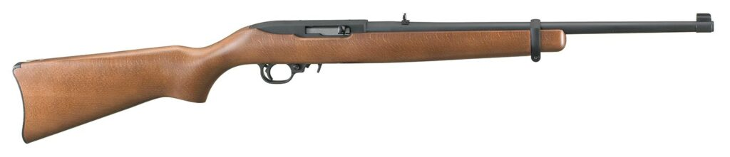 A brown wood and metal rimfire rifle on a white background.