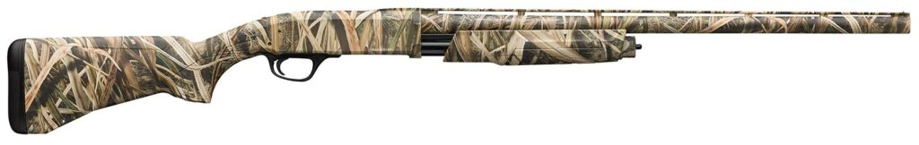 A Browning BPS shotgun in camo on a white background.