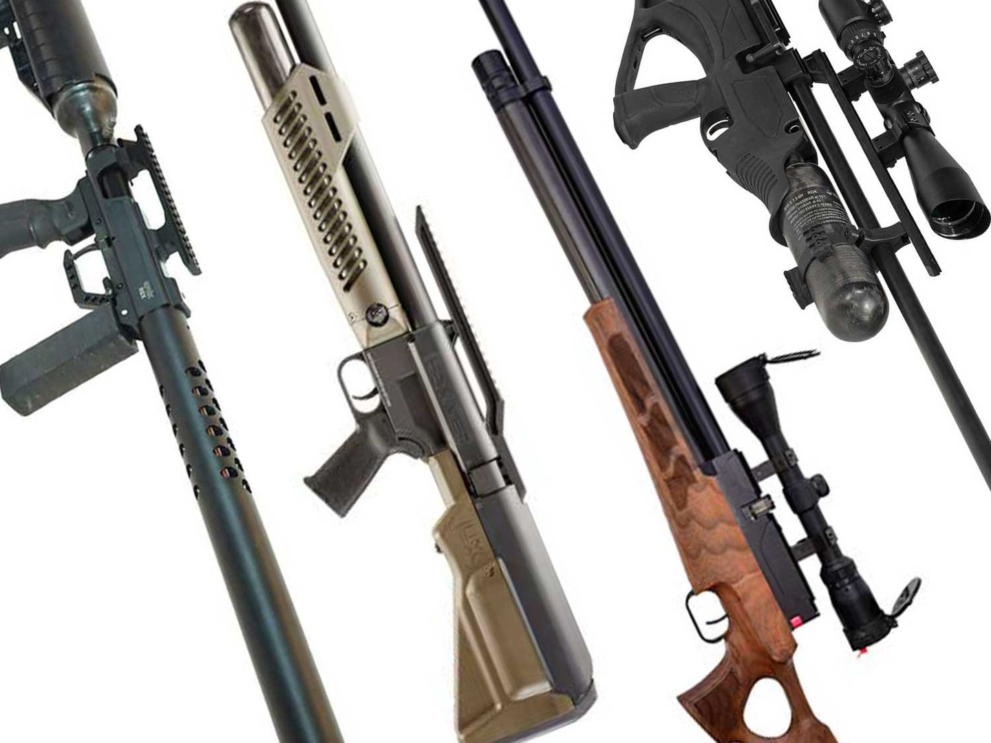 A collage of air guns on a white background.