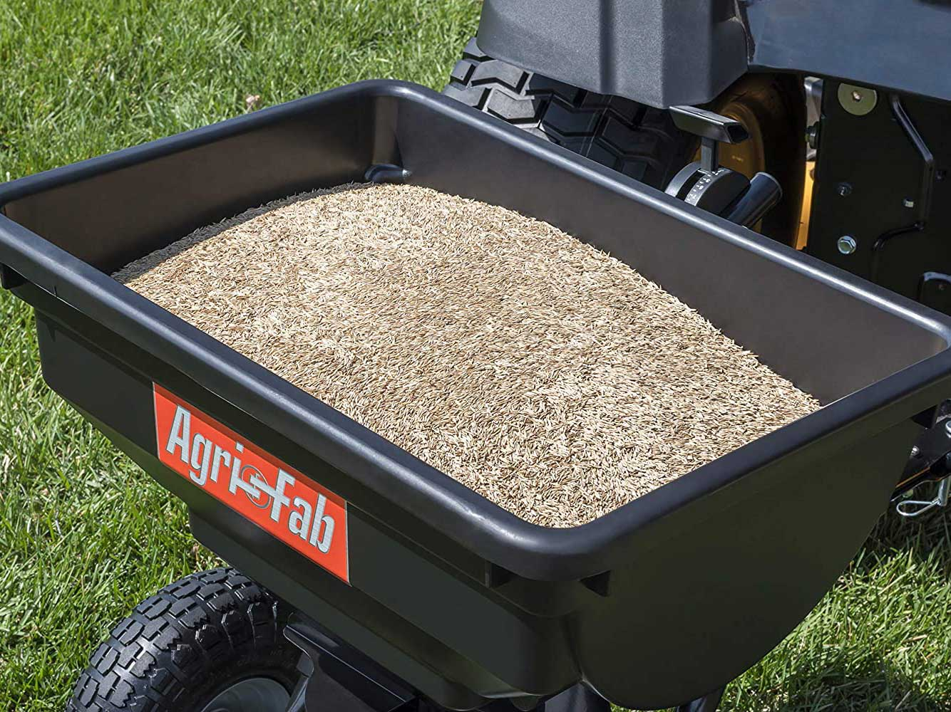 Agri-Fab 85 lb. Tow Broadcast Spreader for planting food plots.
