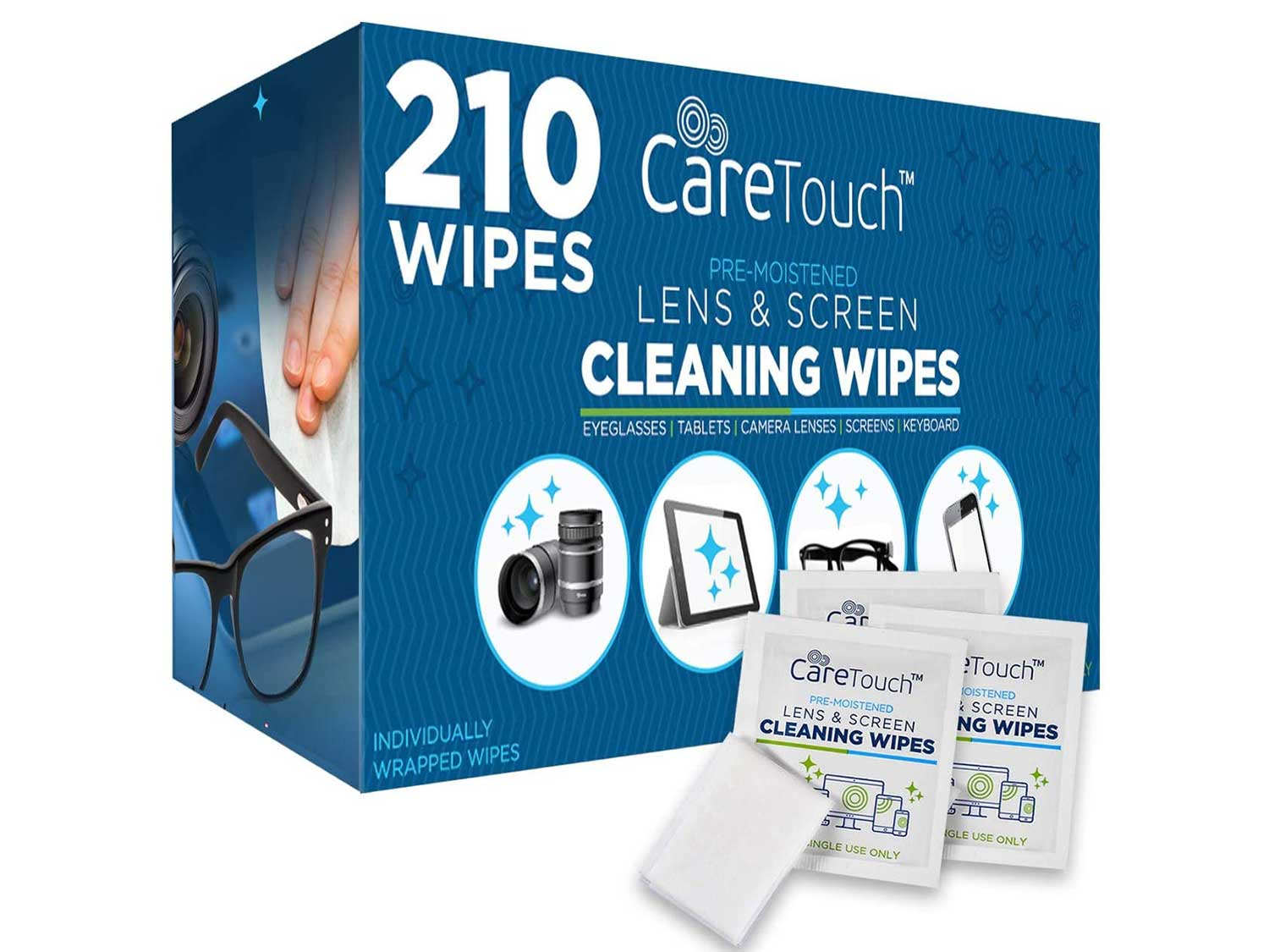 Care Touch Lens Cleaning Wipes | 210 Pre-Moistened and Individually Wrapped Lens Cleaning Wipes | Great for Eyeglasses, Tablets, Camera Lenses, Screens, Keyboards, and Other Delicate Surfaces