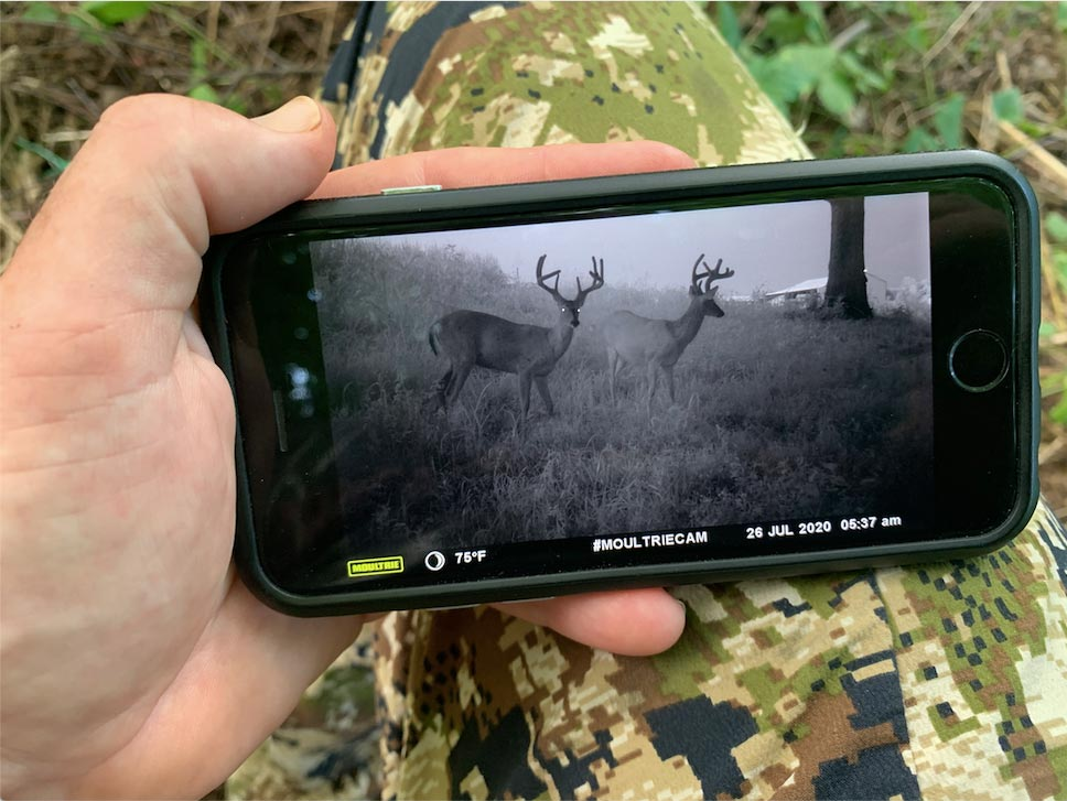 A hunter viewing trail camera footage on their cell phone.