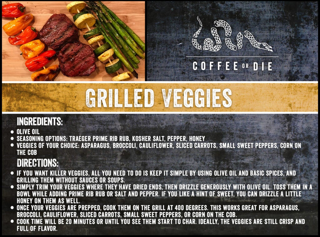 A recipe card for grilled vegetables.