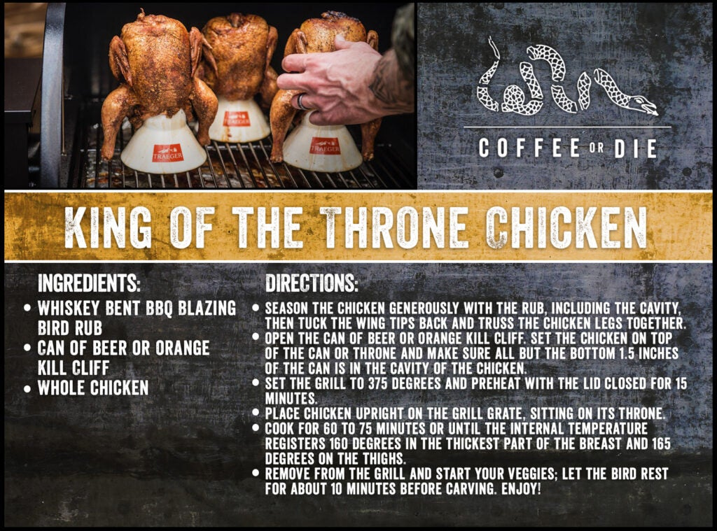 A recipe card for King of the Throne chicken