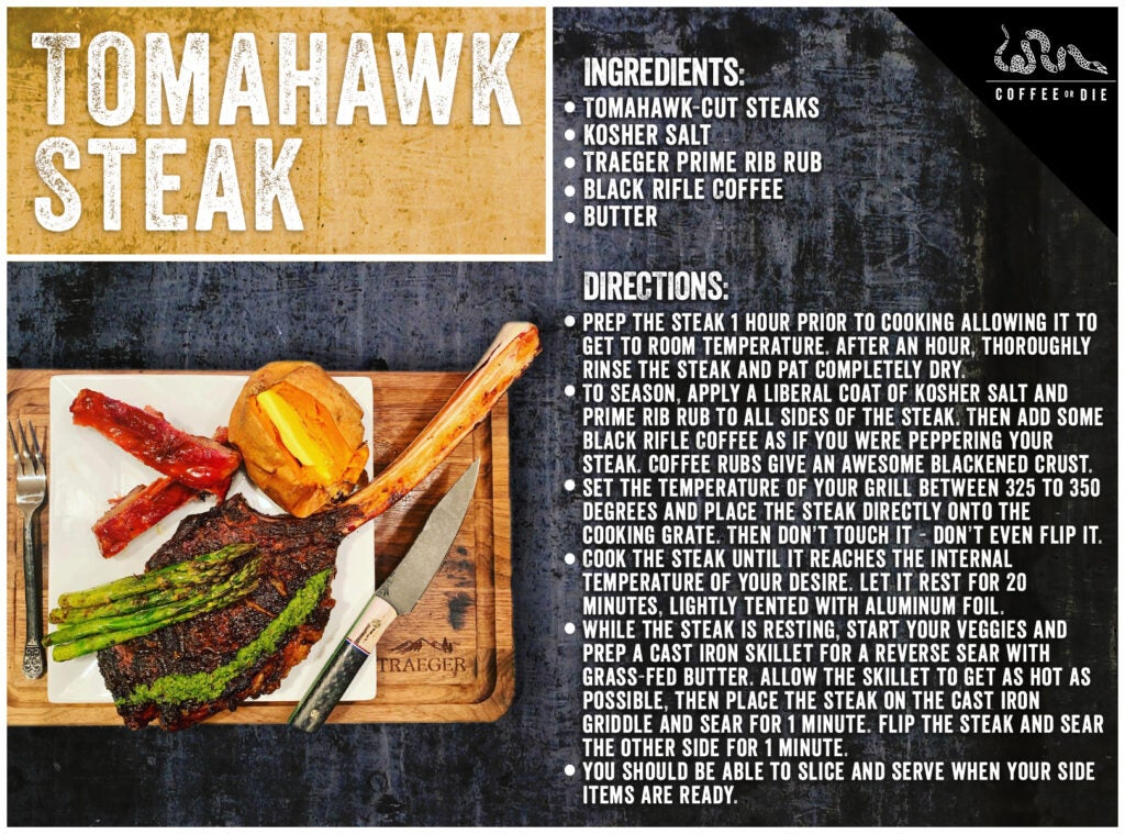 A recipe card for Tomahawk Steaks.