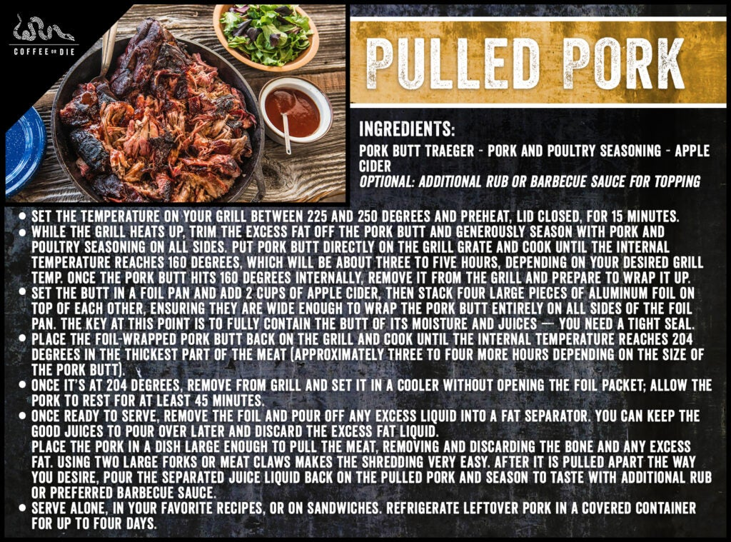 A recipe card for pulled pork.