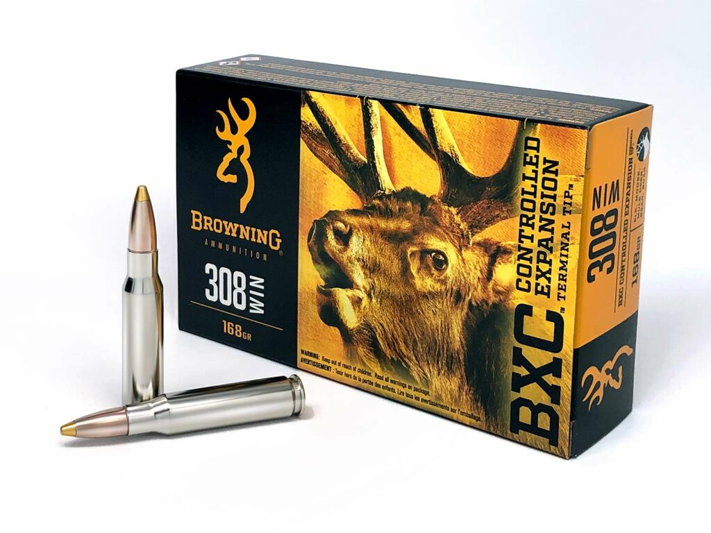 A box of Browning BXC rifle ammunition on a white background.