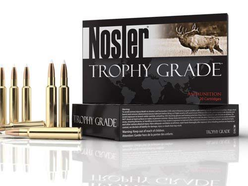 A box of Nosler Trophy Grade ammo and rifle ammunition on a white background.