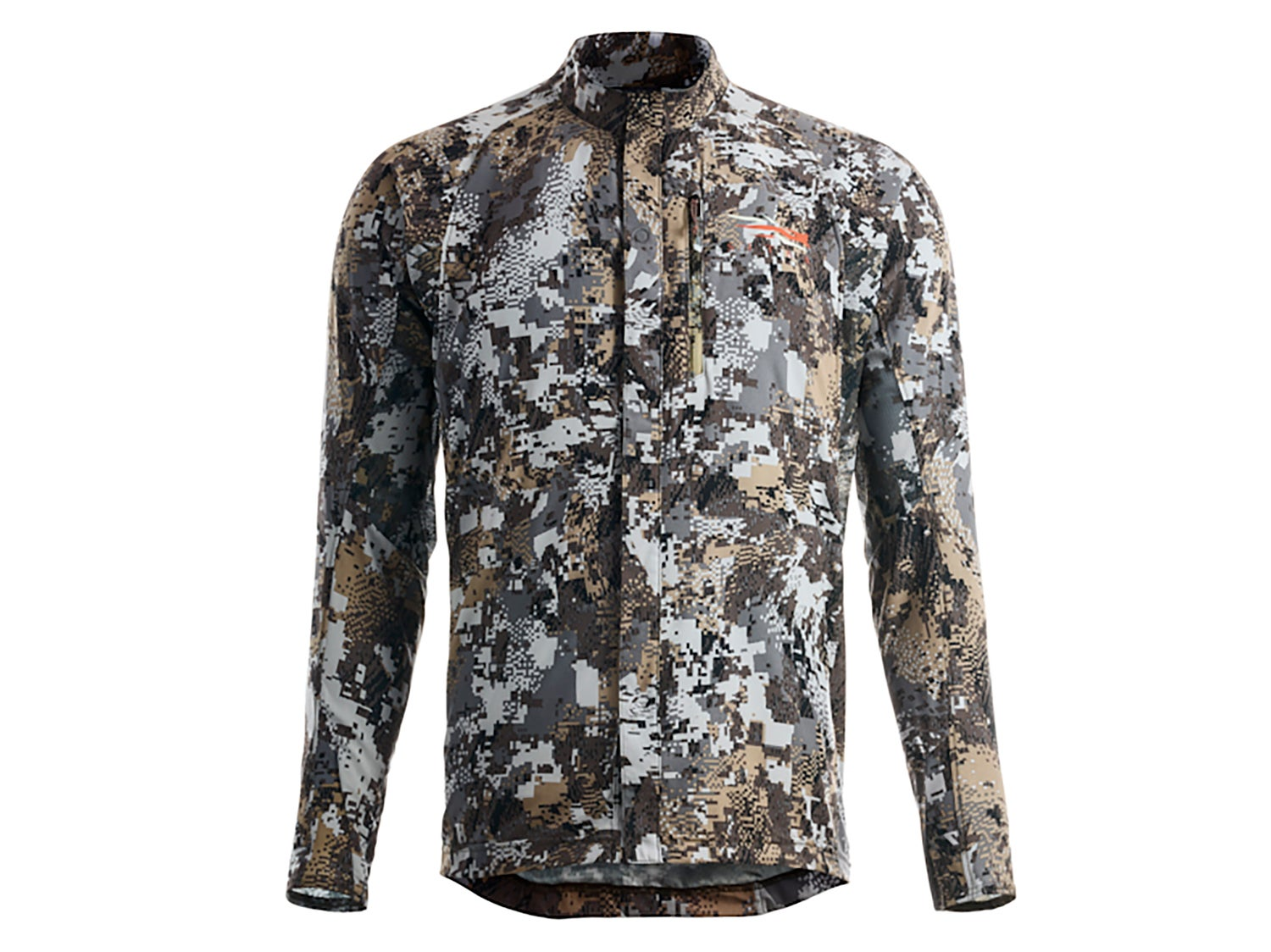 A Sitka camoflauge jacket on a white background.