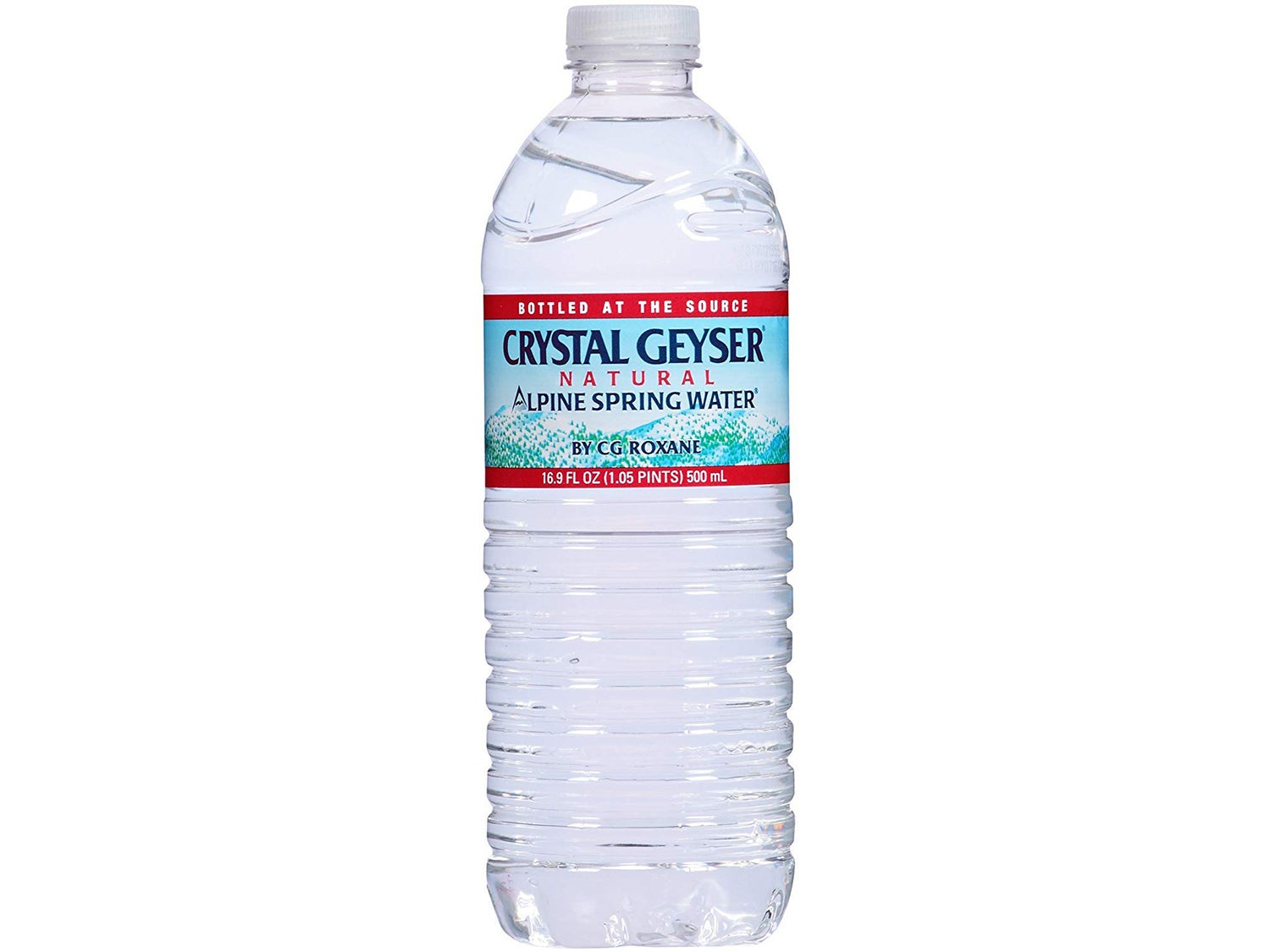 A bottle of crystal geyser water.