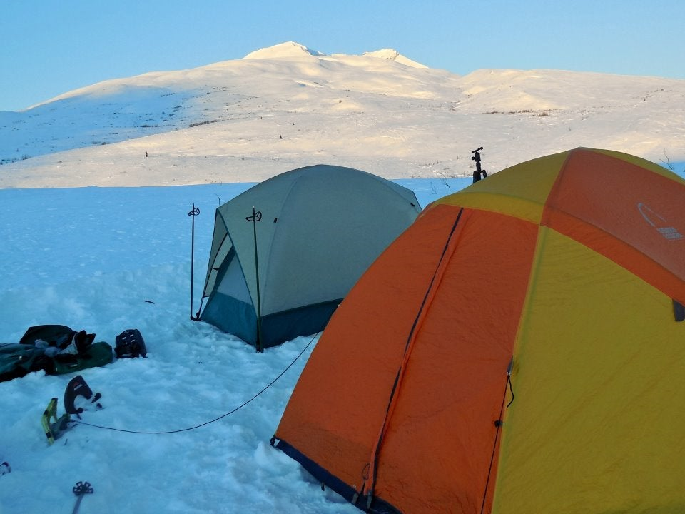 Camping tents in the snow.
