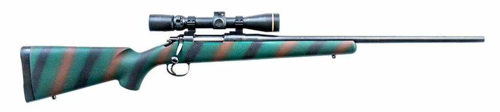 A blue, black and brown striped LULAU model 20 rifle.