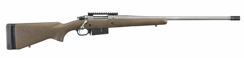 A long range hunting rifle on a white background.