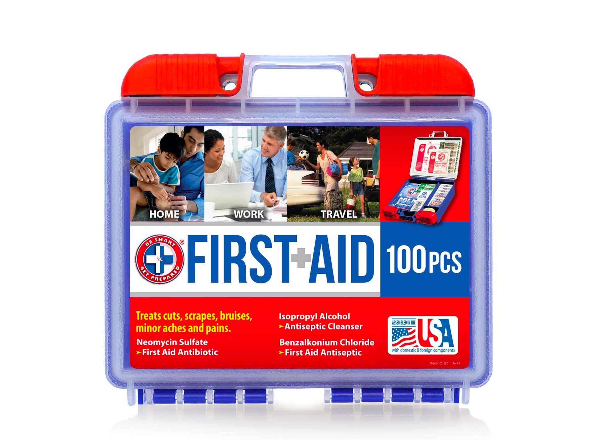 Be Smart Get Prepared 100Piece First Aid Kit, Clean, Treat & Protect Most Injuries With The Kit that is great for Any Home, Office, Vehicle, Camping & Sports. 0.71 Lb