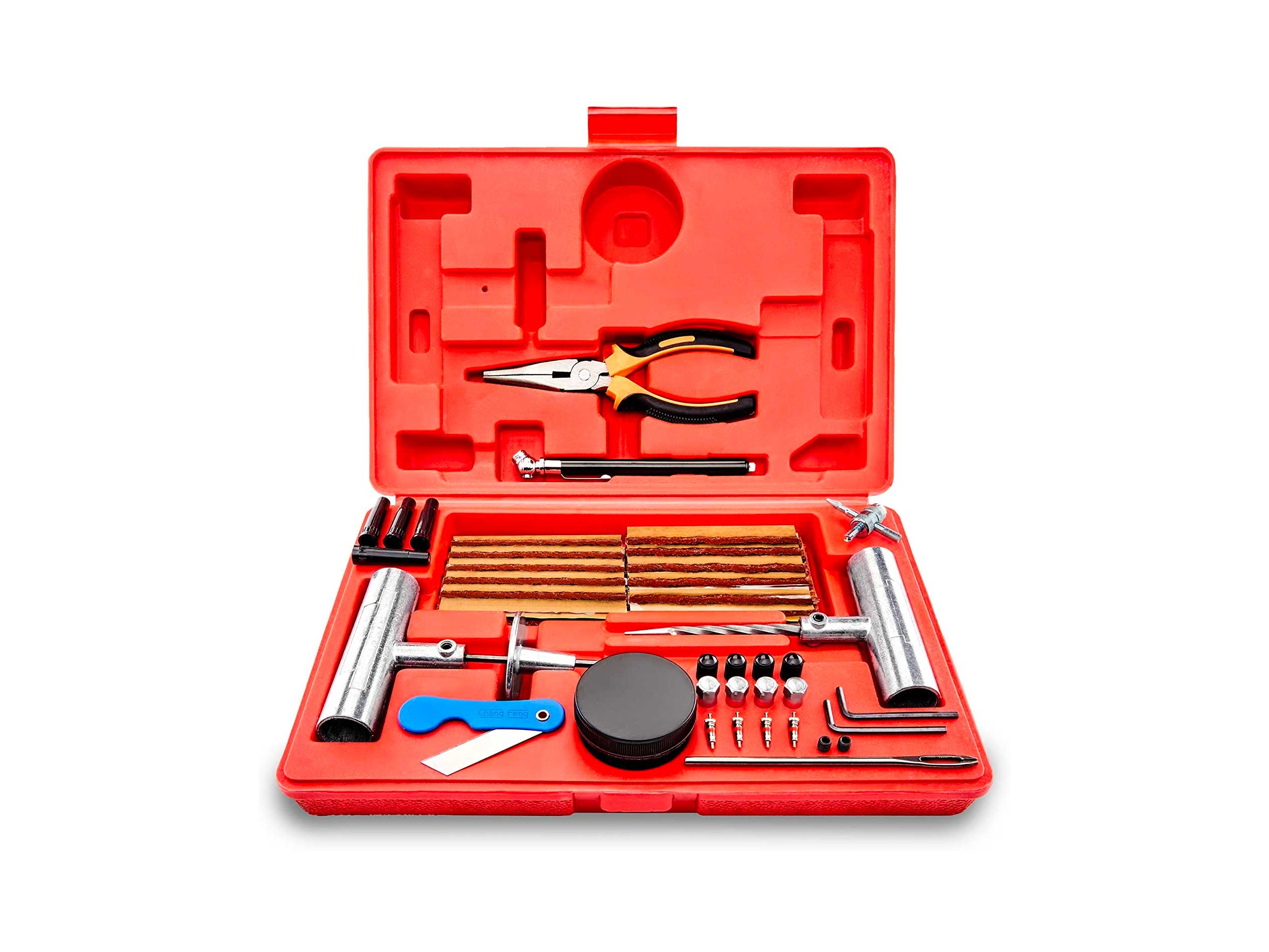 Tooluxe Universal Heavy Duty Tire Repair Kit | 57 Piece Value Pack | Fix Punctures and Plug Flats | Ideal for Cars, Trucks, Motorcycle, ATV, Jeeps, Off Road Vehicles, RV, Tractors