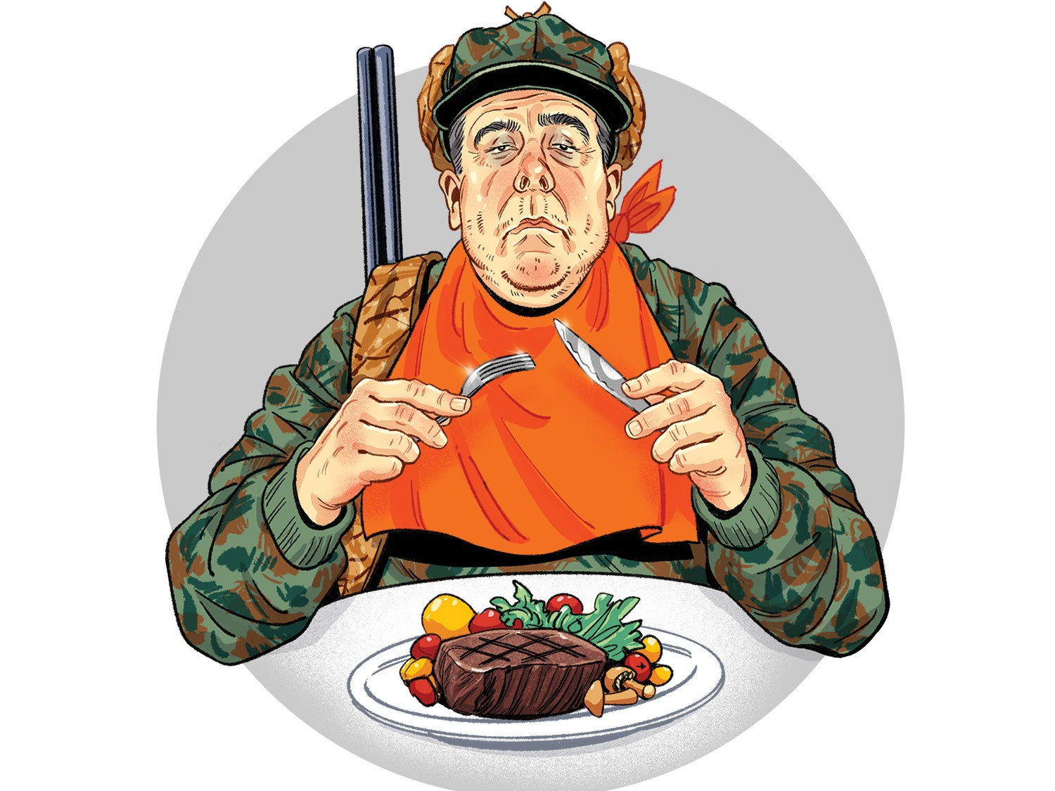 Illustration of a hunter eating a steak.