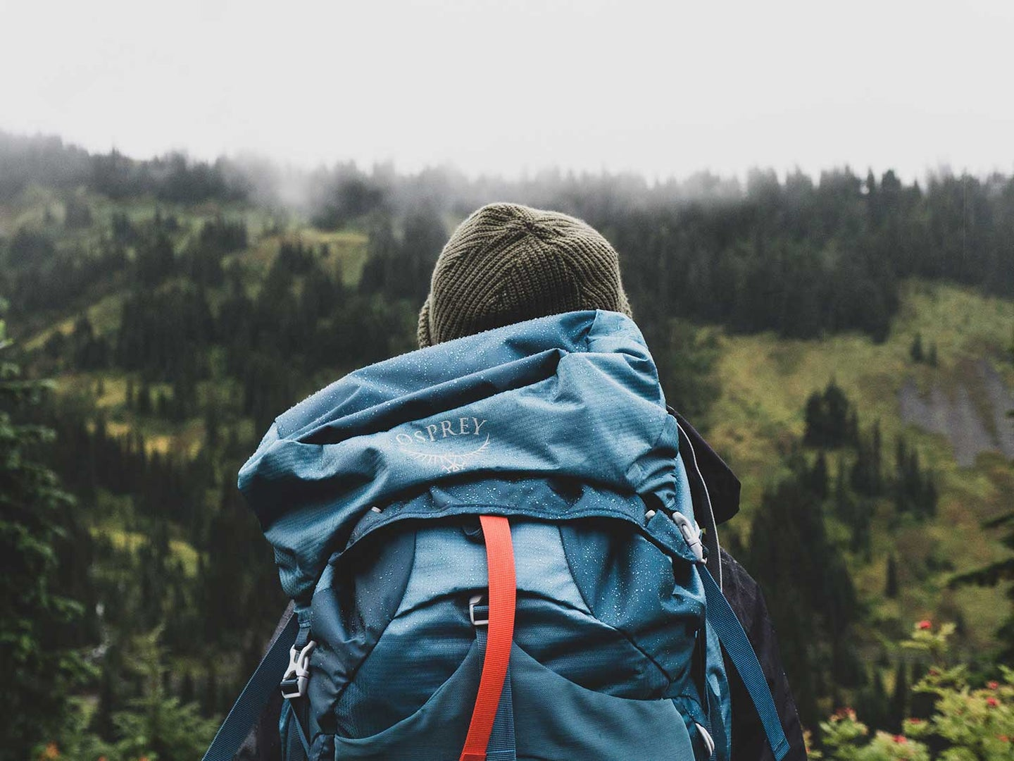 Hiking with a backpack.