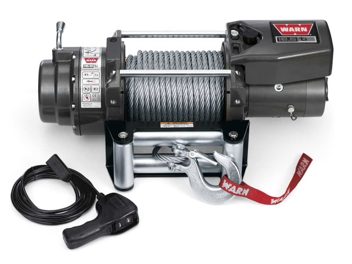 WARN 68801 16.5ti Series Electric 12V Heavyweight Thermometric Winch with Steel Cable Wire Rope: 7/16